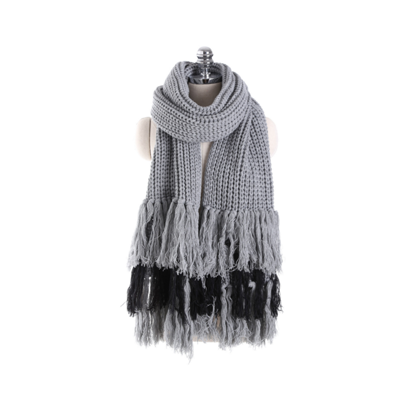 Fashion warm knitted thick scarves youth wild tassel air - conditioning shawl Autumn and winter women 2017solid 200x30cm scarves