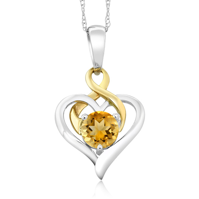 Gemstoneking 10k two tone gold 045 ct round yellow citrine heart gemstoneking 10k two tone gold 045 ct round yellow citrine heart pendant with chain mothers mozeypictures Image collections