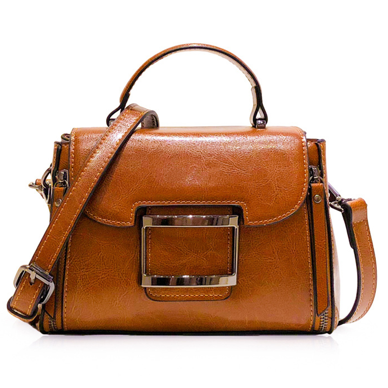 Oil Wax Cowhide Genuine Leather Women Crossbody Shoulder Messenger Bag Tote Handbag Casual Simple Fashion Female Top Handle Bags