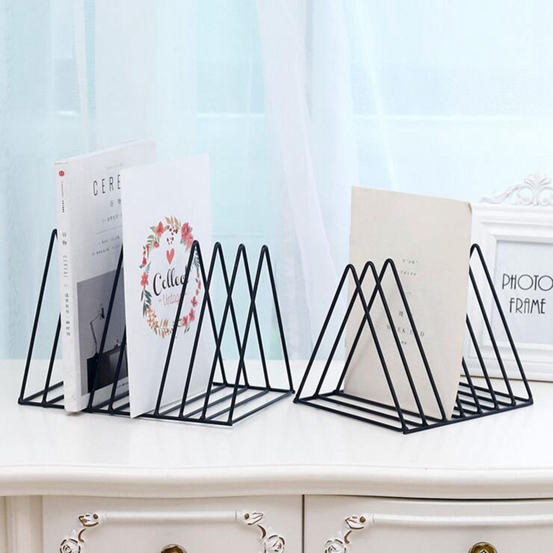 Nordic dreieck einfache schmiedeeisen desktop storage rack regal datei magazin Buchstütze büro rack Schreibwaren Veranstalter Halter