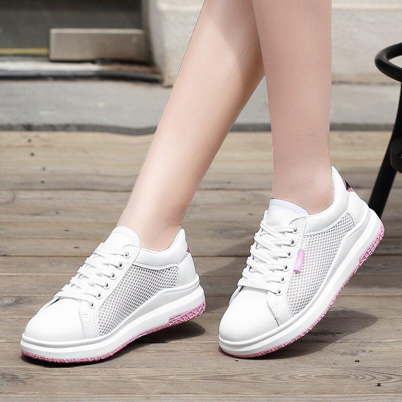 Hot Women Sneakers Fashion Breathble Vulcanized Shoes Platform Lace up Casual Tenis Feminino Zapatos De Mujer in Women 39 s Vulcanize Shoes from Shoes