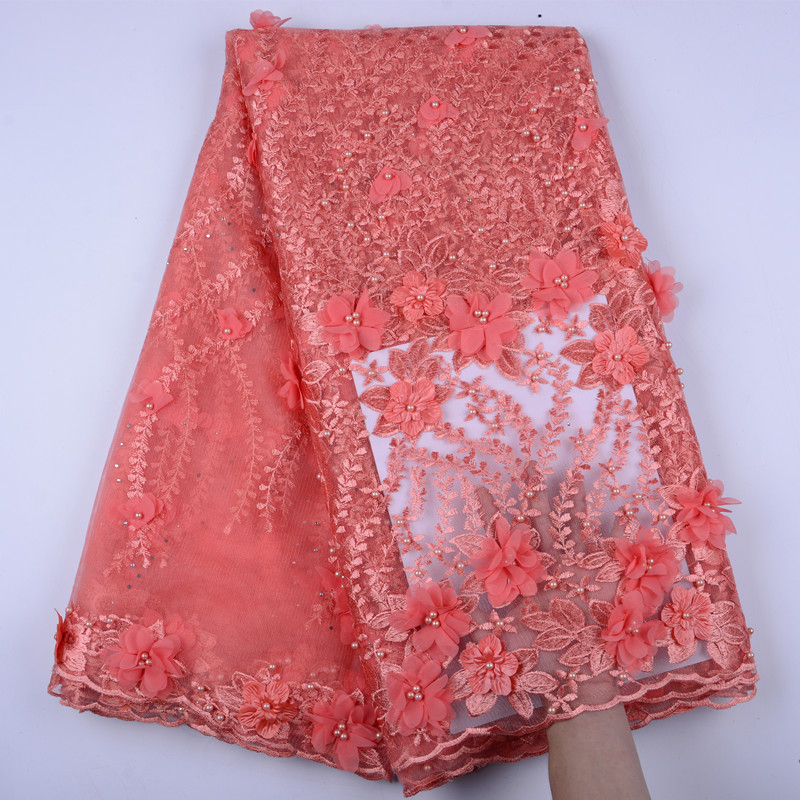 New Style Peach French Net Lace Fabrics 3D Flowers African Tulle Mesh Lace High Quality Nigerian