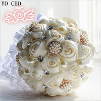 Artificial bridal bouquets crystal jewelry pearl flower bouquet supplies wedding flowers Ivory white silk wedding bouquets