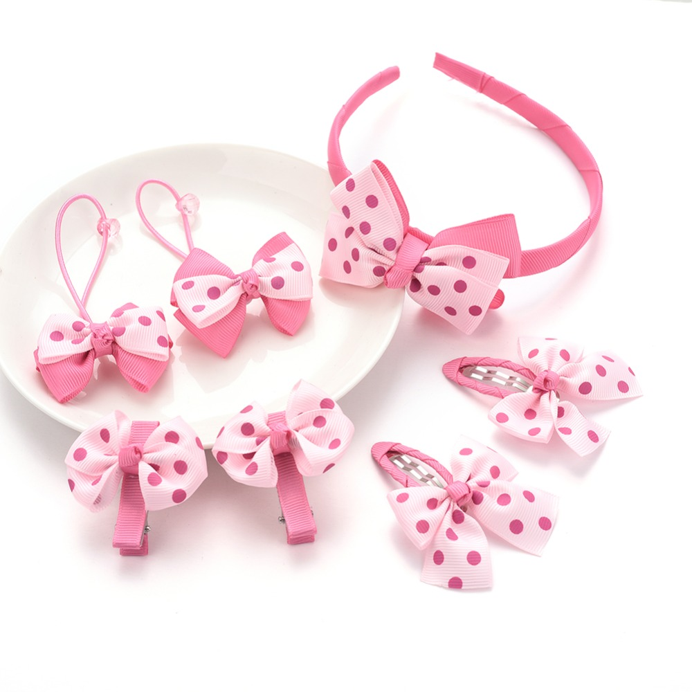 M MISM 7Pcs/Set Bow Dot Hair Clips Rubber Elastic Hair bands for Girls Kids Hairpins Hair Accessories Hoop Set Scrunchy Gift m mism new arrival korean style girls hair elastics big bow dot flora ponytail rubber hair rope hair accessories scrunchy women