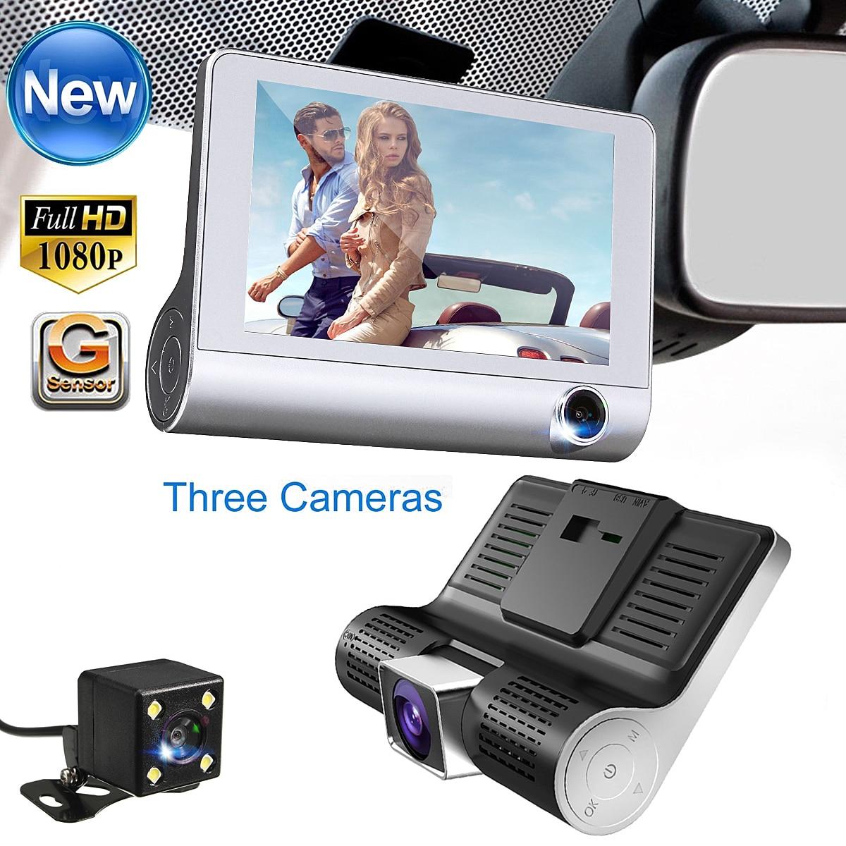 4.0 ''3 Façon Voiture DVR Caméra Vidéo Enregistreur Arrière Vue Auto Registrator Avec Deux Caméras Dash Cam DVR Double lentille G-capteur