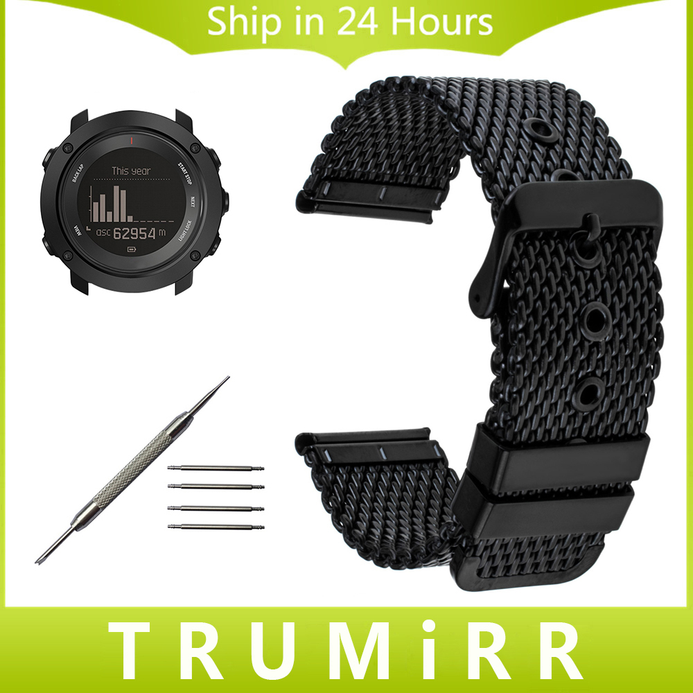 Milanese Stainless Steel Watchband +Tool for Suunto Ambit 3 Vertical / Spartan Sport HR Watch Band Wrist Strap Bracelet Black 24mm nylon watchband for suunto traverse watch band zulu strap fabric wrist belt bracelet black blue brown tool spring bars