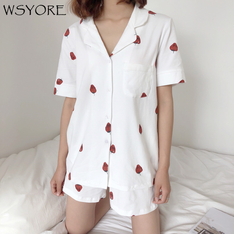 WSYORE Two Piece Night Suit 2018 New Casual Summer Women Pajamas Set Short Sleeve Printed Tops & Short Pants Sleepwear NS191