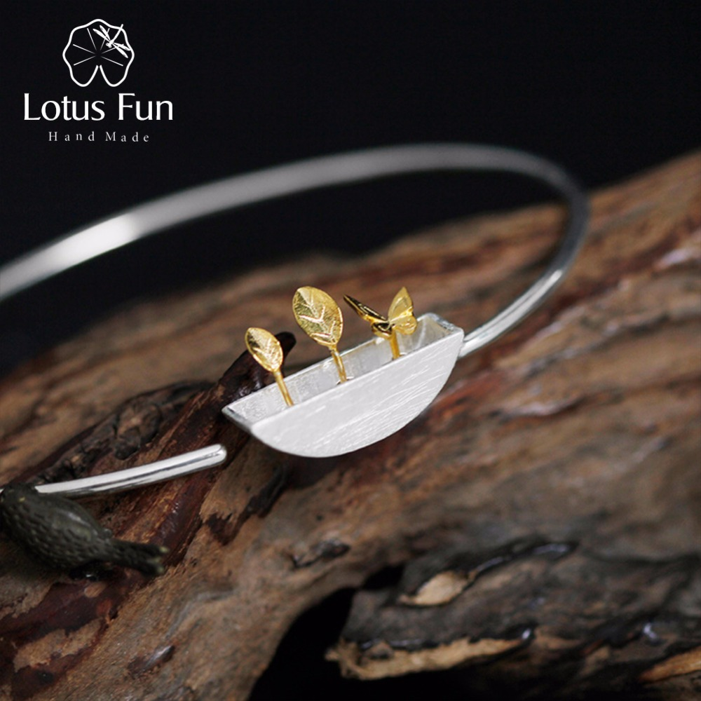 Lotus Fun Real 925 Sterling Silver Natural Style Creative Handmade Design Fine Jewelry My Little Garden