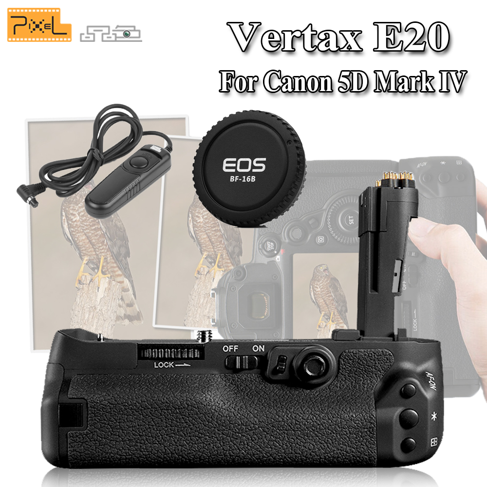 New Pixel Vertax E20 Professinal Battery Grip For Canon 5D Mark IV / 5D4 / 5D MarkIV & Camera Cap & RC-201 Wired Shutter Release ultrafire a9 t60 3 mode 910 lumen white led flashlight w strap 1 x 18650 1 x 17670