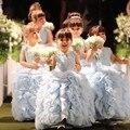Princesa Da Menina de Flor Vestidos Para Casamentos 2016 Vestido Longo Pageant Vestidos Para Meninas Glitz vestido de Baile Da Criança Vestidos de Comunhão