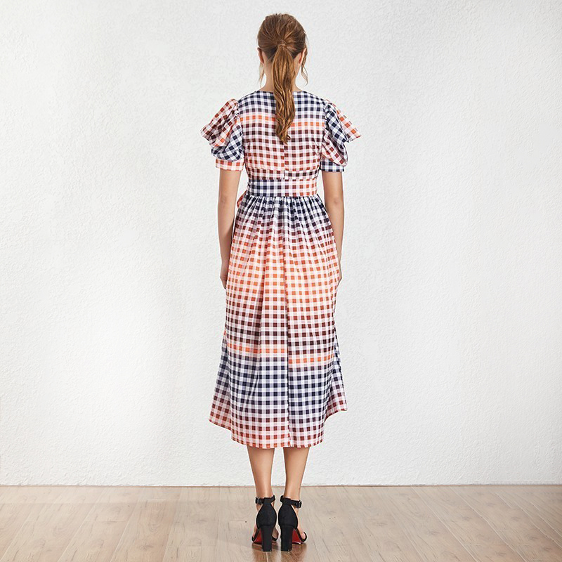 TWOTWINSTYLE-Casual-Hit-Color-Women-Dress-V-Neck-Puff-Sleeve-High-Waist-Lace-Up-Plaid-Long (2)