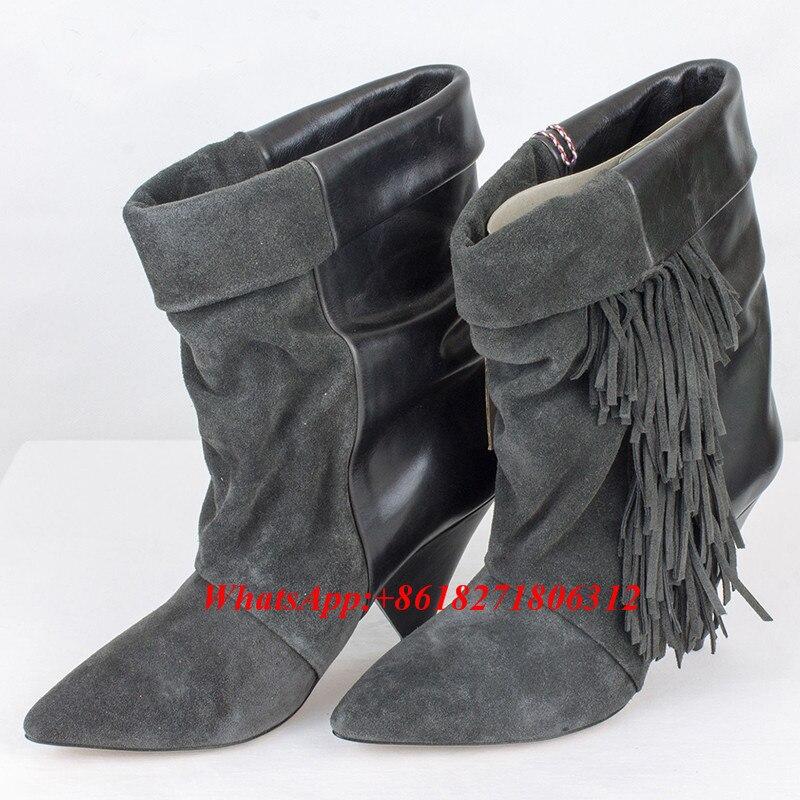 Gris Cuero Tobillo black Mujeres Zapatos La Calidad Cuña Botas Runway Pico Suede Verdadero Gray De Fringe Mujer Botines Negro En Deslizamiento Alta Talón rFBTw6rnxq