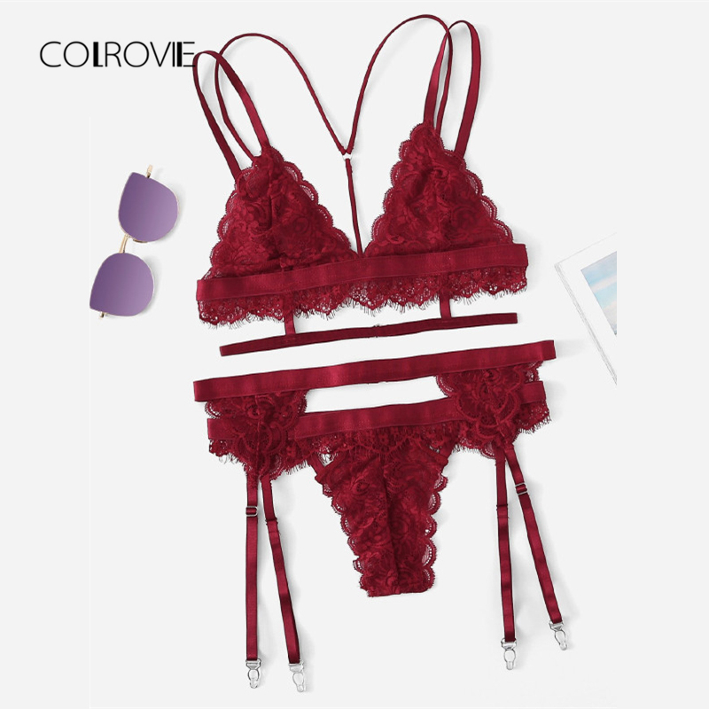 COLROVIE Burgundy Sexy Floral Scalloped Trim Lace Lingerie   Set   2018 New Women   Bra   And   Brief     Sets   Wireless Sexy Underwear   Bra     Set