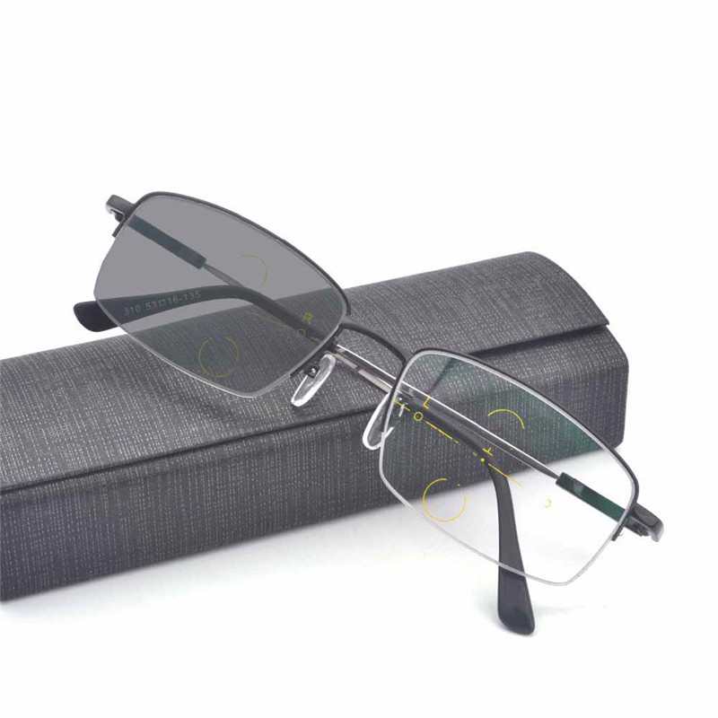 Mincl/Anti-UV-reflective Progressive Multifocal Glasses Transition Sun Photochromic Reading Glasses Women See Near Far Diopt FML