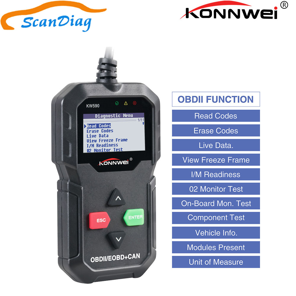 Auto Diagnostic Tool KONNWEI KW590 OBD2 Code <font><b>Scanner</b></font> Supports Multi-Language Russian <font><b>OBD</b></font> II Car Code Reader With Brake Tester image