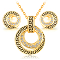 Conjuntos de jóias banhado a Ouro da forma do vintage clássico de cristal da menina das mulheres charme presente da jóia brincos de strass colares cadeia rodada