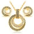 Sistemas de la joyería de la vendimia plateó classic crystal muchacha de las mujeres rhinestone del encanto ronda cadena collares pendientes regalo de la joyería