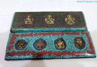 Tibet old Wood inlay Turquoise brass buddha Buddhist Scripture Book plate Statue