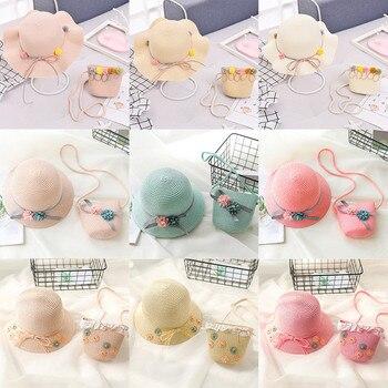 Baby Girls Children Straw Beauty Floral Hat Baby Sun Hat Girl Summer Cap Beach Visor Hat Straw Bag Two-Piece Sets 4