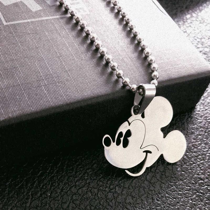 Paylor Mickey Mouse Em Forma de Colar de Pingente de Colar de Corrente de Aço de Titânio Rodada Contas Elo Da Cadeia Da Moda Presentes Da Jóia Das Mulheres