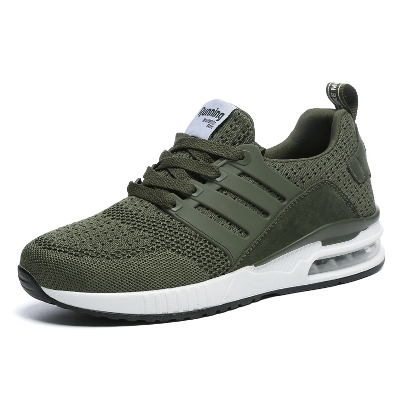 2019 Air Cushion Man Sneakers Rubber Black Running Shoes Army Green Breathable Mesh Men Sport Shoes Male Female Women Size 36-44
