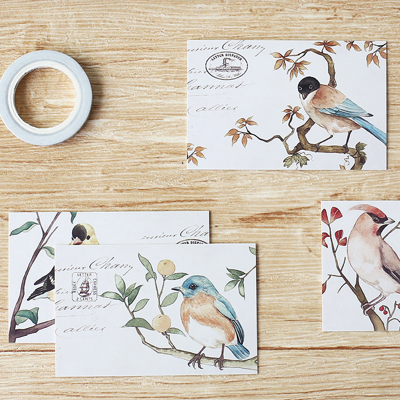 multi-use 5.2*8cm 54pcs 30pcs bird stamp theme Scrapbooking party invitation cards valentine Christmas Scrapbooking