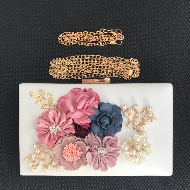 Fashion Colorful Flowers Party Ladies Evening Clutch Bags Appliques Chain Women Shoulder Crossbody Bags with Luxury Pearl