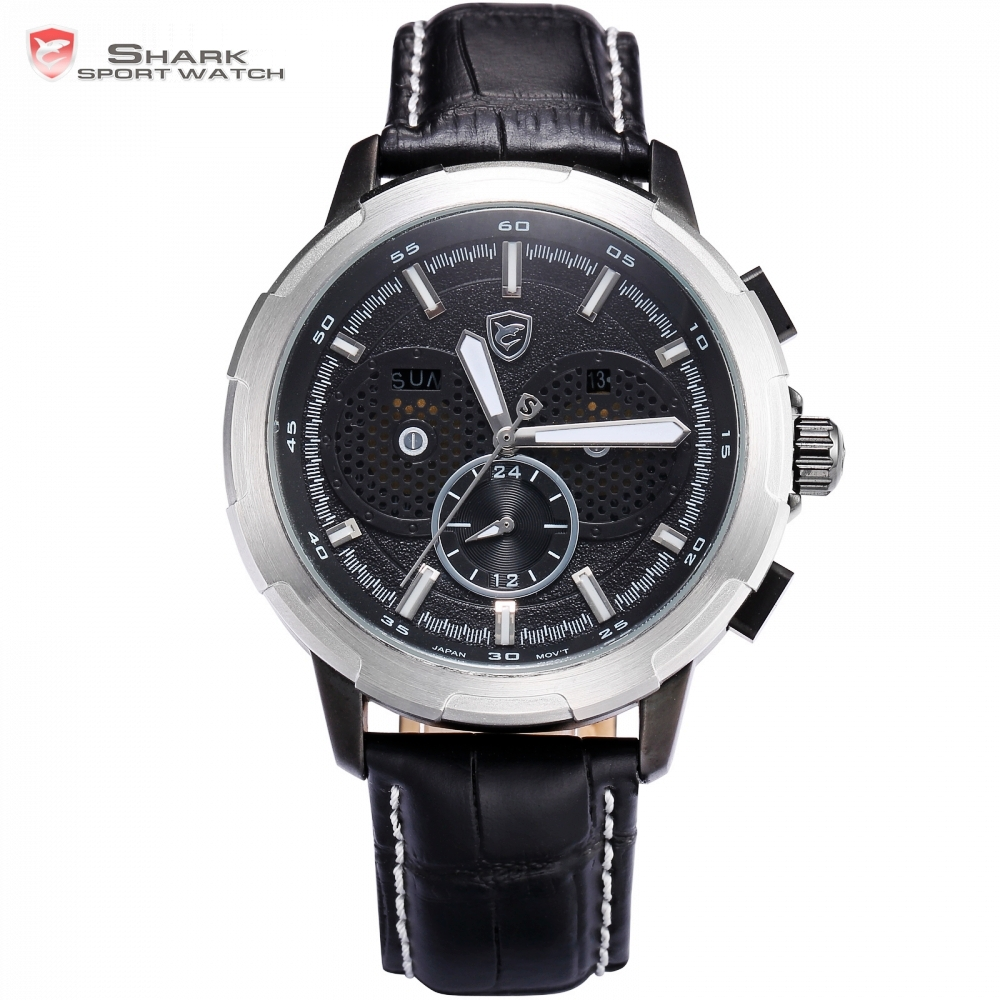 Horn Shark Series Sport Watch Fashion Auto Date Day Display Silver Case Black Dial Leather Band Strap Male Wrist Watches / SH356
