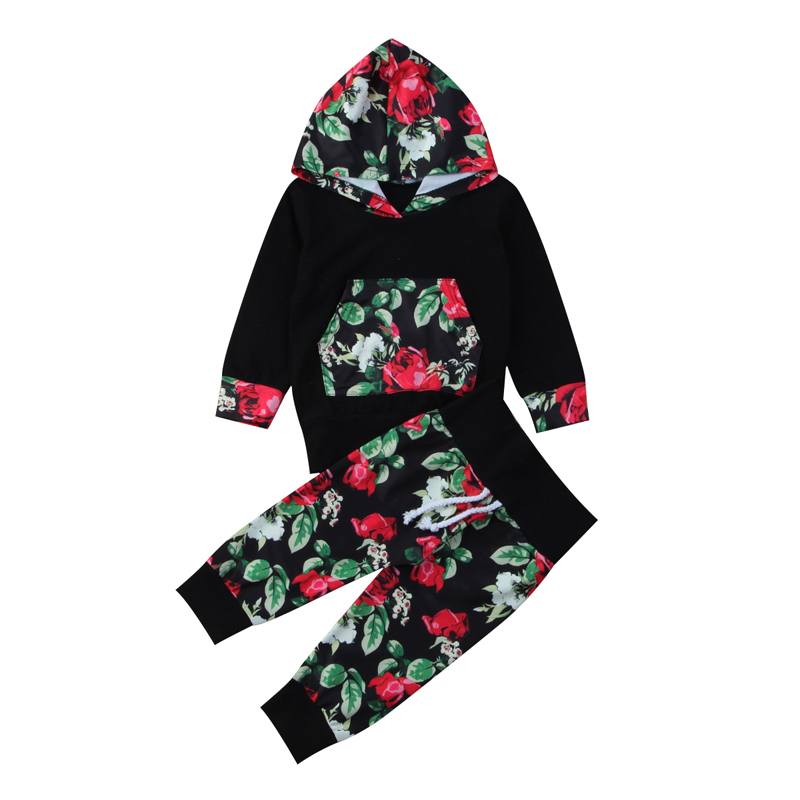 New Casual Newborn Baby Girl Clothes Infant Outfit Clothes Hooded Tops Coat+Floral Pants 2PCS Set