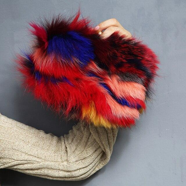 Роскошные дизайнерские женские меховые сумки пэчворк цвет день сцепления кошелек цепи мини-сумка для женщин Bolso сцепления вечерняя