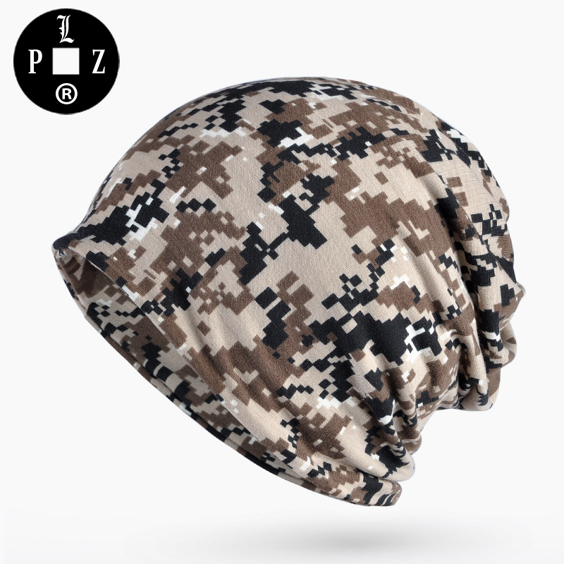 PLZ Army Camouflage Beanies Thin Cotton Skullies beanie for Men Unisex Scarf Hat 4 colors Summer Street Sunscreen Dome cap Camo skullies