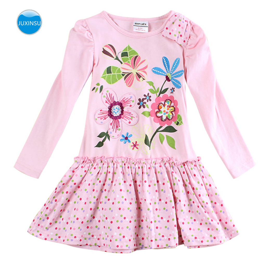 JUXINSU Cotton Toddler Flower Girl Long Sleeve Dress Autumn Winter Knee Length Wave point Dresses Casual Clothes Girls 1 6 Years in Dresses from Mother Kids