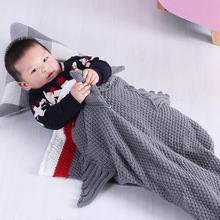 Kids knitted mermaid tail blanket Little shark sleep wrap nap air conditioner sofa Blanket warm soft comfortable breathable knitted fishbone sofa wrap kids mermaid tail blanket