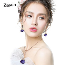 ФОТО zeyan jewelry sets fashion female freshwater pendant necklace with earrings crystal whole set luxury jewelry party gifts zytz374