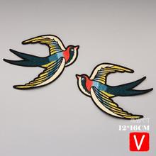 embroidery birds patches for jackets,swallow badges for jeans,appliques for clothing A564 embroidery round birds patches for jackets fish badges for jeans appliques a133