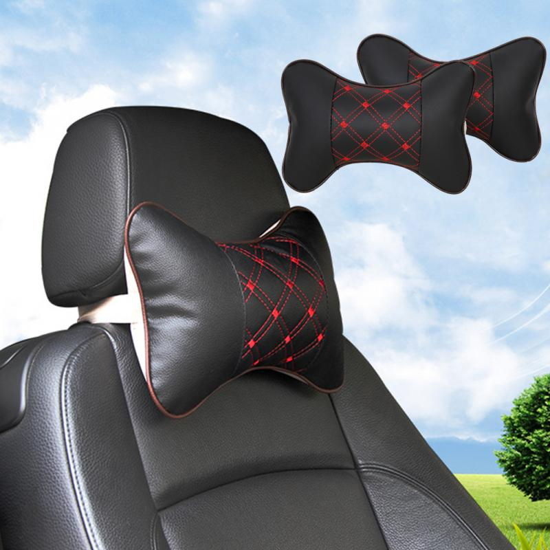 Hot Headrest PU Leather Embroidered Sofa Cushion Car Travel Headrest Auto Safety Pillow Gift Home Chair Pillow Head Neck Rest