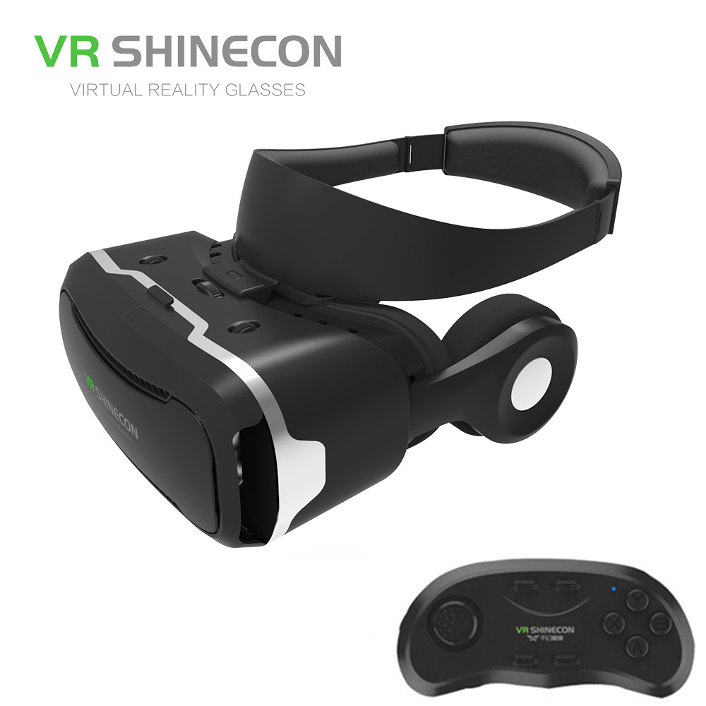 Newest 3D Glasses VR BOX  with headphone Virtual Reality 3D Video Glasses VR helmet  for 4.5-6.0 inch iPhone/Android/Movies dji spark glasses vr glasses box safety box suitcase waterproof storage bag humidity suitcase for dji spark vr accessories