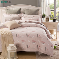 KELUO Pure Cotton Feather Bedding Set Duvet Cover Bedclothes Print Bedding Sets American Style 3 4PCS