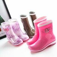 Hot Superior Quality Fashion Brand Women Mid Calf Rain Boots Low Heels Short Waterproof Rain Boots