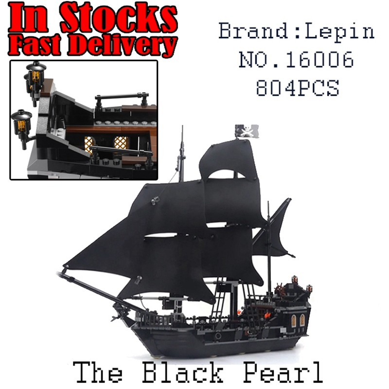 LEPIN 16006 804pcs Pirate ship Pirates of the Caribbean The Black Pearl Building Blocks toys for children Gifts 4184 brinquedos the black pearl ship 804pcs bricks set sale pirates of the caribbean building blocks toys for children compatible
