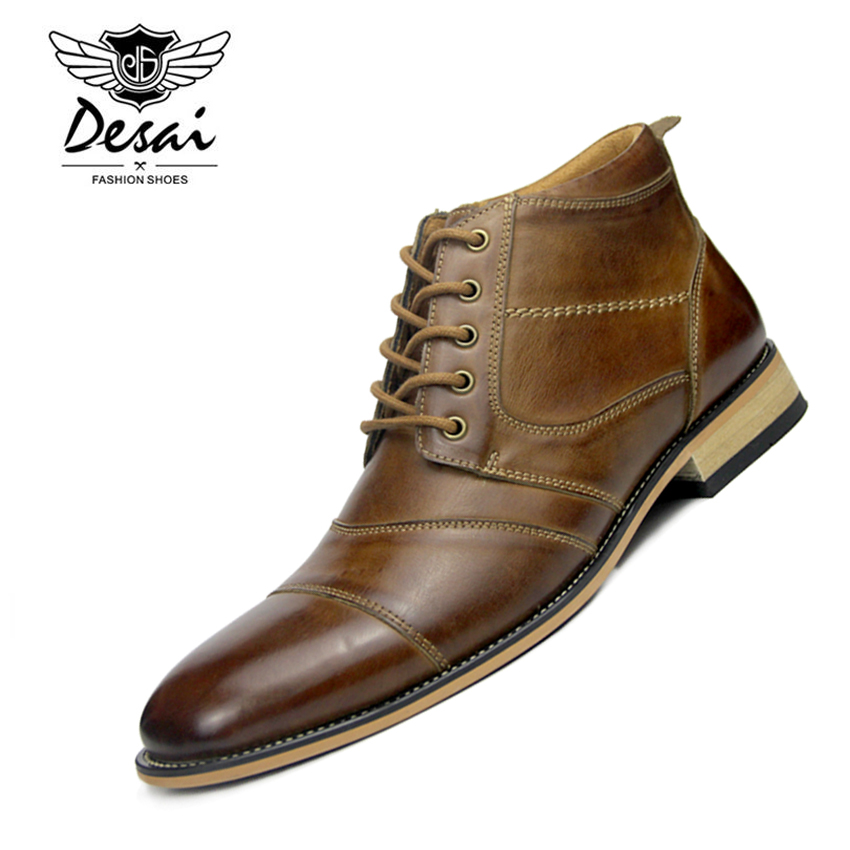 DESAI New Arrival Autumn Winter Warm High Boots Men s British Style High Shoes Genuine Leather
