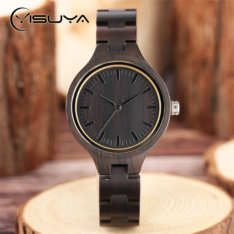 YISUYA Womens Luxury Wooden Watches Ladies Ebony Wood Watch Creative Handmade Natural Dress Quartz Wristwatch Bamboo Strap Gifts classic style natural bamboo wood watches analog ladies womens quartz watch simple genuine leather relojes mujer marca de lujo