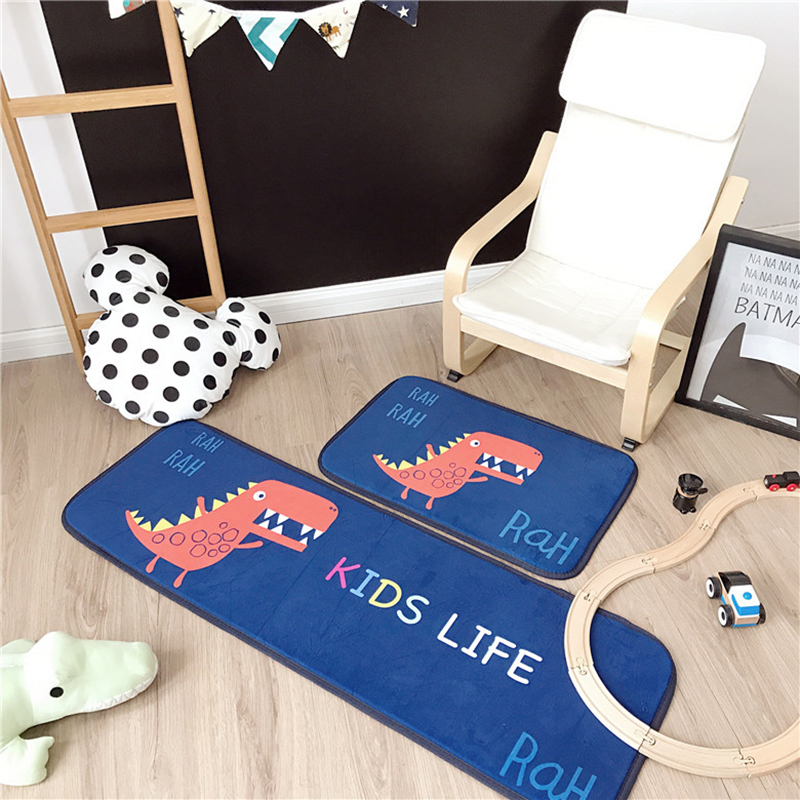 Zeegle 2pcs/set Baby Crawling Mat Cartoon Dinosaur Soft Floor Flannel Children Carpet For Babies Kids Bedroom Living Room