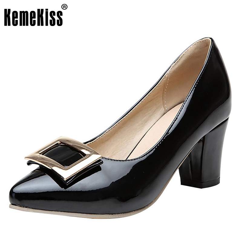 ФОТО Womens High Heel Patent Leather Pointed Toe Shoes Woman Bowknot Slip On Dress Shoes Zapatos Mujer Lady Footwear Size 35-46 B214