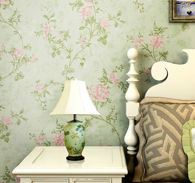 Chinese Vintage Flowers Wallpaper Warm Green Wall Paper Roll Bedroom Sofa Tv Embossed