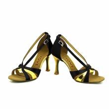 YOVE Dance Shoe Satin Women's Latin/ Salsa Dance Shoes 3.5″ Flare High Heel More Color w153-9