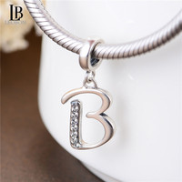 925 Sterling Silver Alphabet B Beads A-Z Letter Initial Spacer Dangle Clear Synthetic Crystal Charm For Snake Chain Bracelets