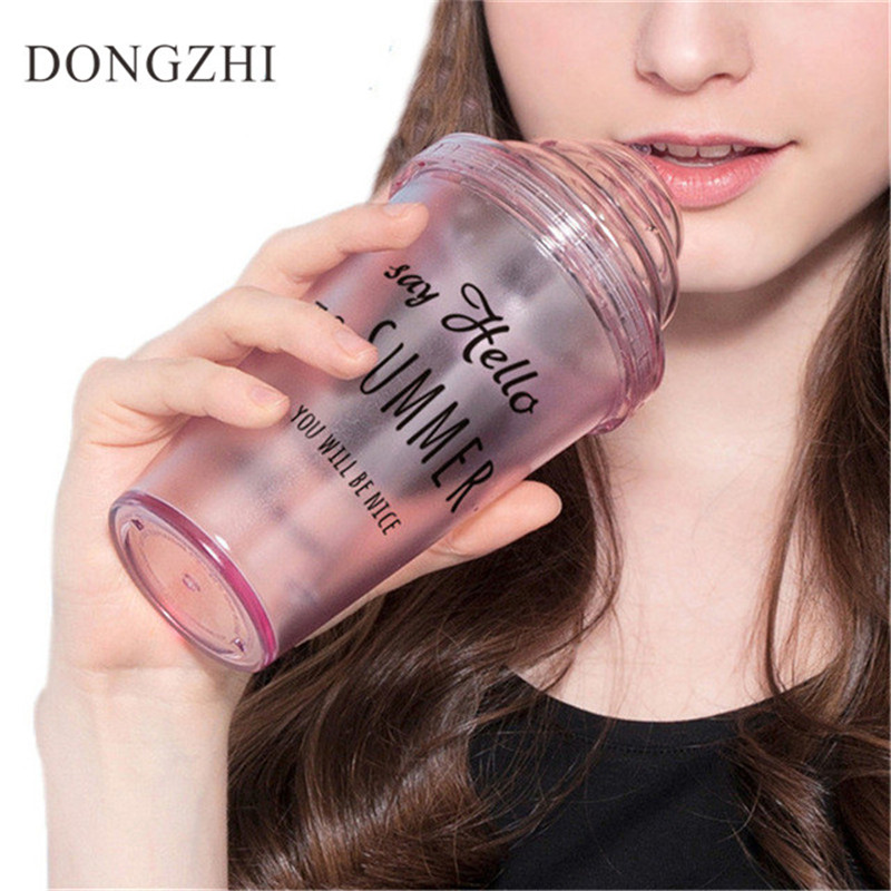 Creative Ice Creamer Bottles With Lid Lovely Water Bottles Funny Straw My Travel Sports Water Bottle For Students 420ML BT0015