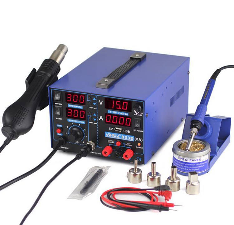 1SET 110V 220V 800W YIHUA 853D SMD DC Power Supply Hot Air Gun Rework Soldering Station 60W Soldering Iron For Welding Repair цена