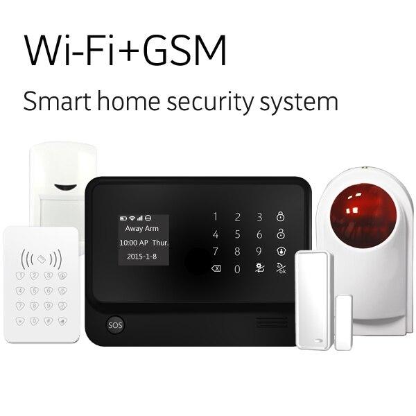 WiFi Internet GSM GPRS SMS accueil Système D'alarme wifi gsm intrus alarme g90b plus gsm maison d'alarme antivol deux voies audio alarme